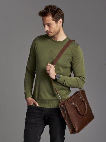 Skórzana torba męska z odpinanym paskiem ciemnobrązowa