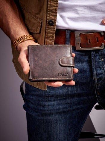 Skórzany portfel dla mężczyzny z zapięciem brązowy