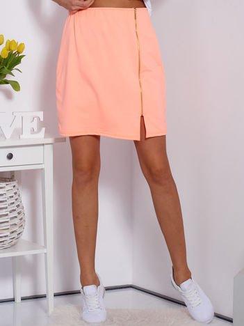 Spódnica dresowa fluo pomarańczowa z suwakiem
