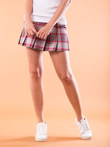 Spódnica mini w kratę z plisami szara