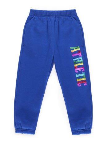 Spodnie dresowe chłopięce ocieplane niebieskie