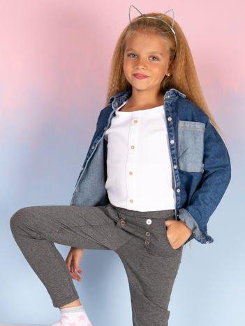Spodnie dresowe dla dziewczynki ciemnoszare z guzikami