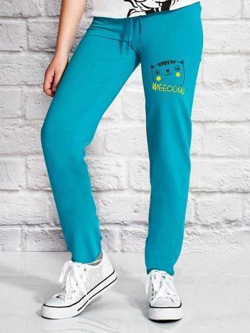 Spodnie dresowe dla dziewczynki z napisem MEEOOW