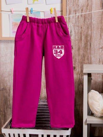 Spodnie dresowe dziewczęce z naszywką R&B 34 GIRL fioletowe