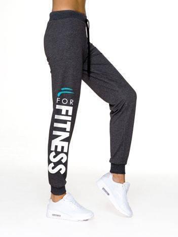Spodnie dresowe z napisem FOR FITNESS grafitowe