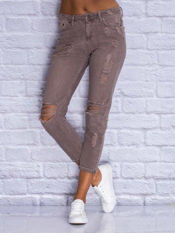 Spodnie jeansowe boyfriend kawowe