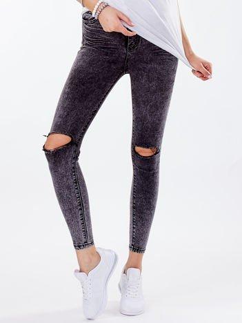 Spodnie jeansowe ciemnoszare z przetarciami high waist
