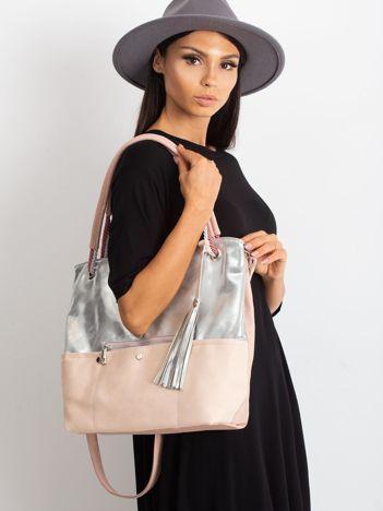 Srebrno-różowa torba z ekoskóry