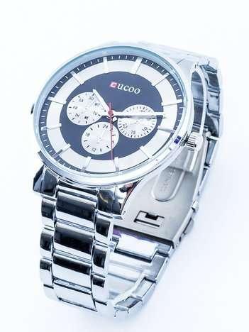 Srebrny męski zegarek z czarną tarczą