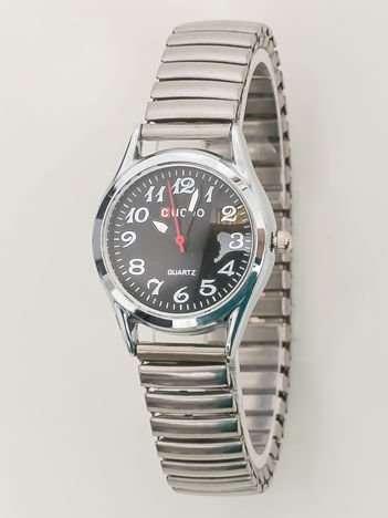 Srebrny zegarek damski na bransolecie z czarną tarczą
