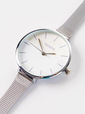 Srebrny zegarek damski z dwukolorową tarczą na bransolecie MESH