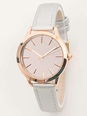 Srebrny zegarek damski z lustrzaną tarczą