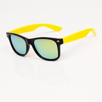 Stylowe Żółte okulary przeciwsłoneczne dziecięce z klasyczną oprawką typu WAYFARER NERD LUSTRZANKI