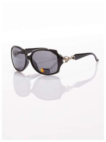 Stylowe okulary przeciwsłoneczne w stylu MUCHY-srebrne ozdobniki na zausznikach-POLARYZACJA+GRATISY