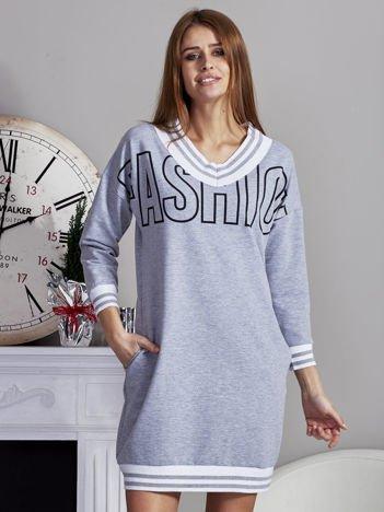 Sukienka V-neck z napisem i ściągaczami szara