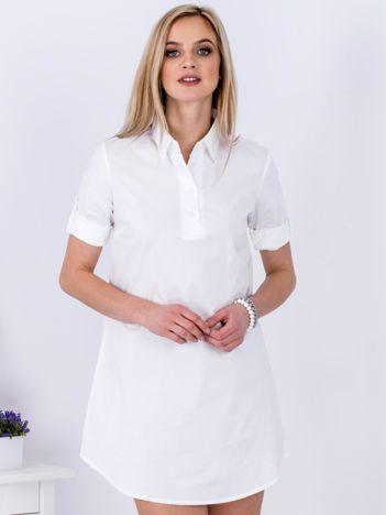 Sukienka biała z kołnierzykiem
