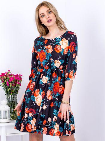 Sukienka czarna w kolorowe kontrastowe kwiaty