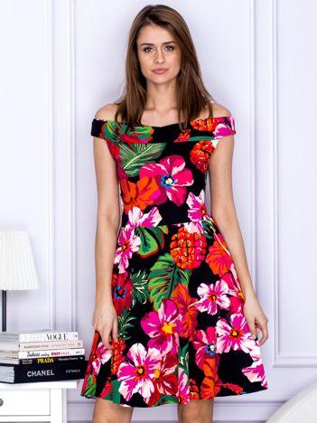 Sukienka czarna z motywem exotic print