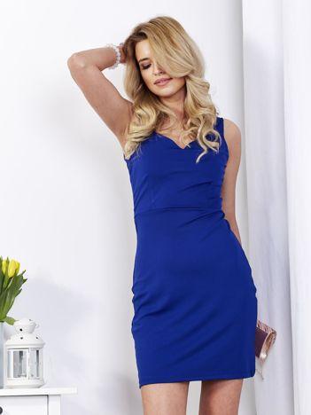 Sukienka damska kobaltowa z dekoltem serce
