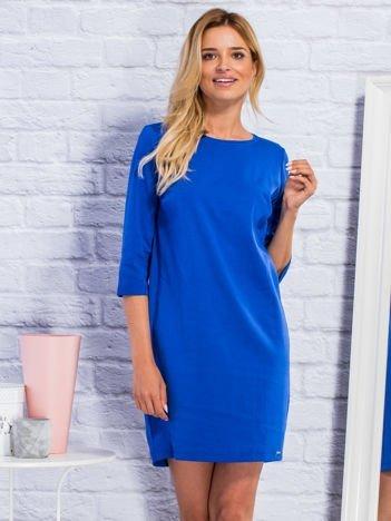 Sukienka dresowa o pudełkowym kroju ciemnoniebieska