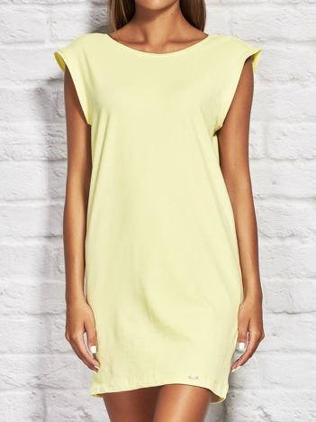Sukienka dresowa z ozdobnymi paseczkami żółta