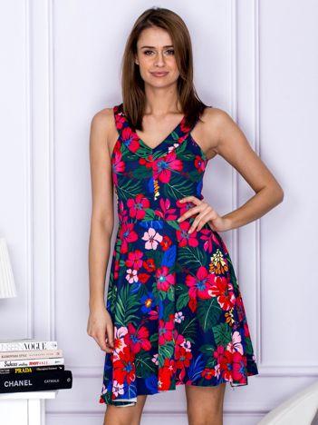 Sukienka granatowa w egzotyczne wzory