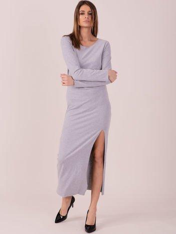 Sukienka jasnoszara maxi z rozcięciem