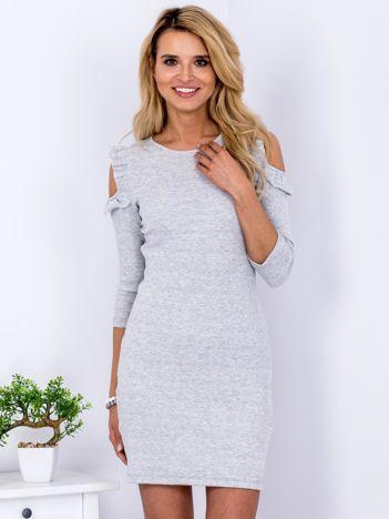 Sukienka jasnoszara prążkowana cold arms