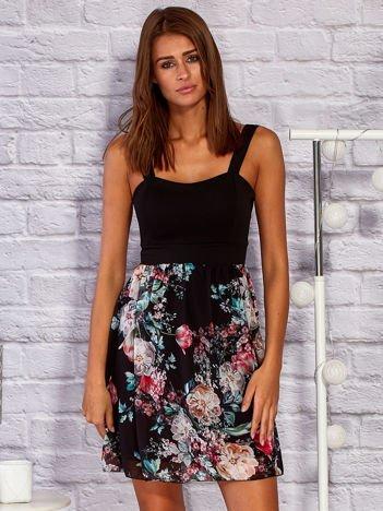 Sukienka koktajlowa z kwiatową spódnicą czarna