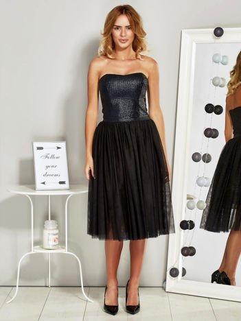 Sukienka wieczorowa z tiulową spódnicą i błyszczącym gorsetem czarna