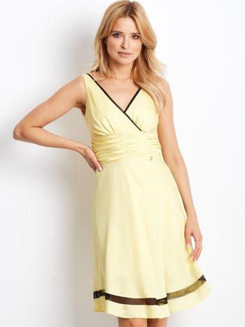 Sukienka żółta V-neck z siatkowym wykończeniem