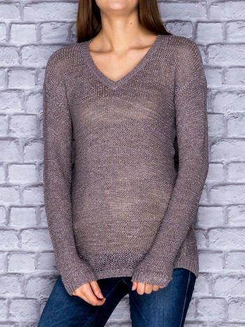 Sweter damski ciemnoszary o szerokim splocie