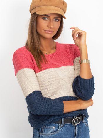 Sweter damski w kolorowe pasy