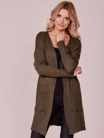 Sweter damski z kieszeniami khaki