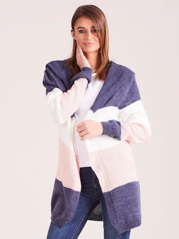 Sweter w pasy z kapturem ciemnoniebieski