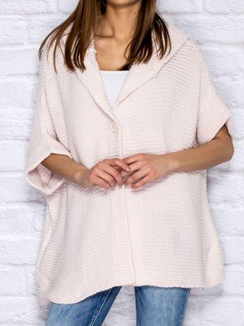 Sweter z kapturem i guzikami różowy