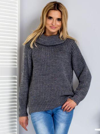 Sweter z kolorową nitką i golfem ciemnoszary