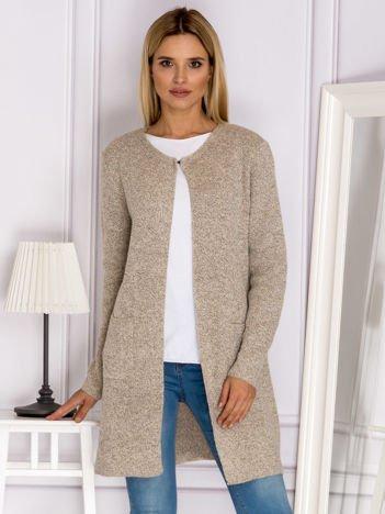 Sweter z wiązaniem z tyłu beżowy
