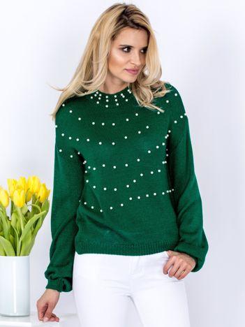 Sweter zielony z perełkami
