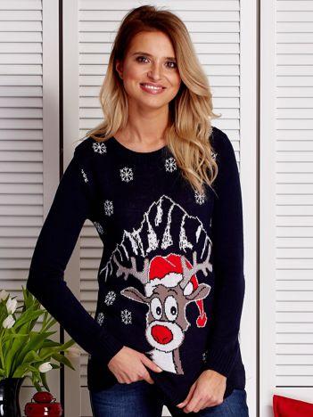 Świąteczny sweter damski z reniferem granatowy