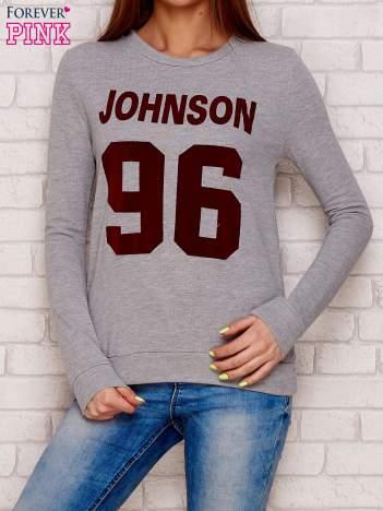 Szara bluza bluza z napisem JOHNSON 96
