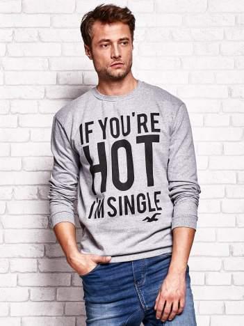 Szara bluza męska z napisem IF YOU'RE HOT I'M SINGLE