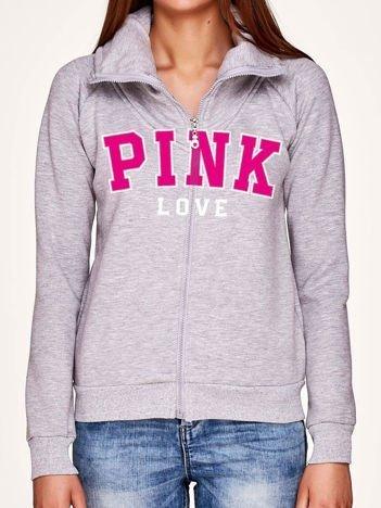 Szara bluza z napisem PINK LOVE