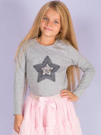 Szara bluzka dla dziewczynki z aplikacją