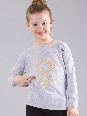 Szara bluzka dziewczęca z aplikacją i perełkami