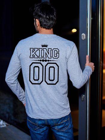 Szara bluzka męska dla par z nadrukiem KING na plecach