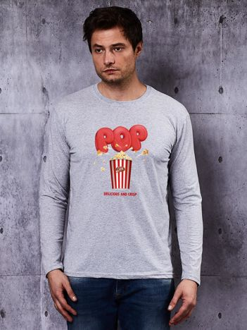 Szara bluzka męska z motywem popcornu