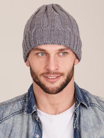 Szara czapka męska na zimę