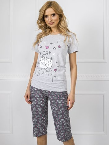 Szara damska piżama z nadrukiem