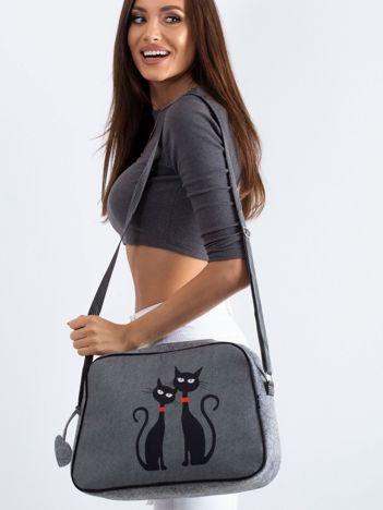 Szara filcowa torba z nadrukiem kotów